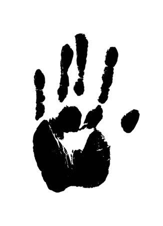 Impression d'une main humaine. Mentions légales Palm en noir isolé sur blanc. Illustration vectorielle de grunge. Vecteurs