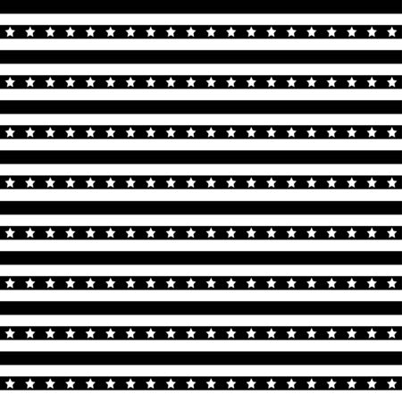 American patriotic stars and stripes seamless pattern in black and white.