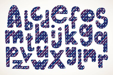 Set of hand drawn letters in American patriotic stars and stripes pattern isolated over white. Иллюстрация