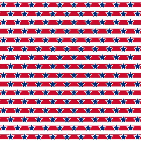 American patriotic stars and stripes seamless pattern in bright red, blue and white. Independence day vector background.
