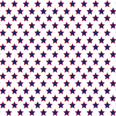 American patriotic stars seamless pattern in bright red, blue and white. Independence day vector background. Иллюстрация