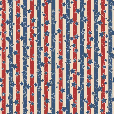 American patriotic stars and stripes textured seamless pattern in vintage colors. Independence day vector background. Иллюстрация