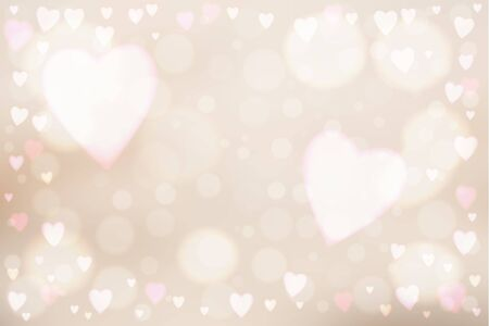 Abstract smooth blur beige background with heart-shaped lights over it.