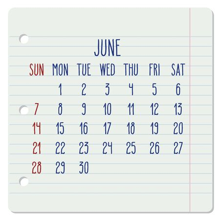 June year 2020 vector monthly calendar on a ruled notebook page. Hand written note pad sheet typography. Week starting from Sunday.
