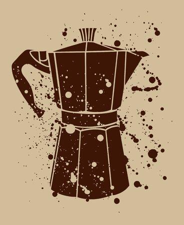 Italian coffee maker or moka pot, espresso machine, mocha express. Hand drawn vintage splatter vector illustration.