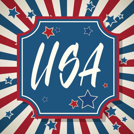 USA. United States of America Independence Day greeting card. American patriotic design. Hand drawn lettering over traditional stars and stripes background.