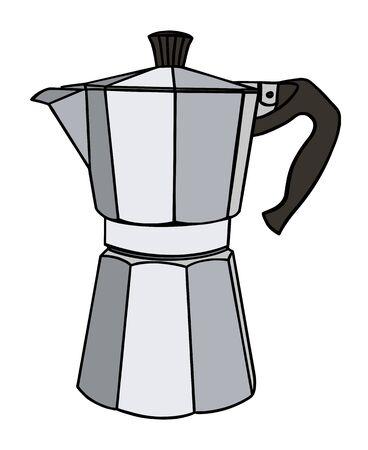 Italian coffee maker or moka pot, metal espresso machine, mocha express. Hand drawn vector illustration isolated over white. 向量圖像