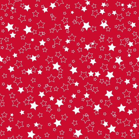 American patriotic stars seamless pattern in bright red, blue and white. Independence day vector background.