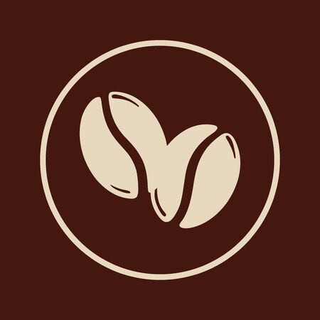 Two roasted coffee beans in a circle, caffeine icon symbol. Graphic vector illustration isolated over brown background.