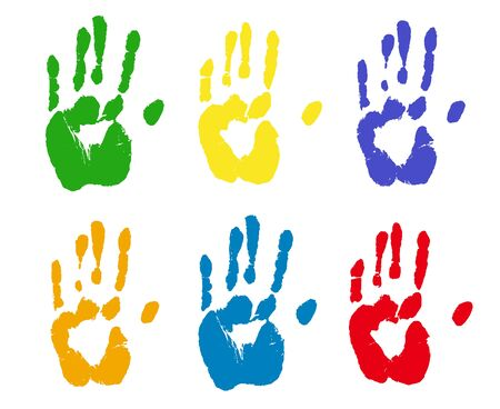 Colorful rints of human hands. Palm imprints set isolated over white. Vector grunge illustration.
