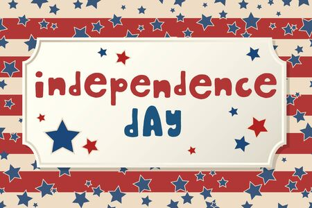 United States Independence Day greeting card. American patriotic design. Hand drawn lettering over traditional stars and stripes background.