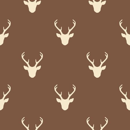 Seamless pattern with deer heads silhouettes. Vector brown and beige background. Nature wildlife animal backdrop. Фото со стока - 148085858