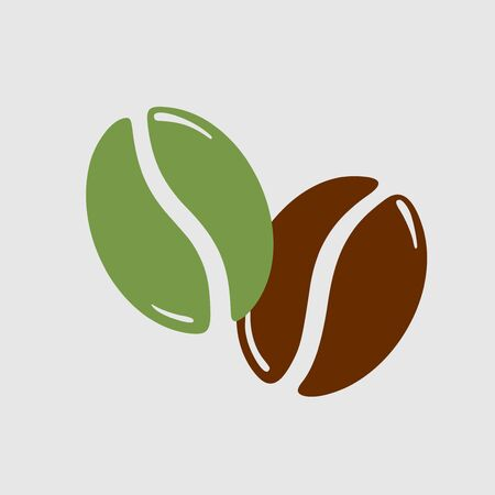 Twocoffee beans, green and roasted brown, caffeine symbol. Hand drawn graphic vector illustration isolated on white background. Illustration