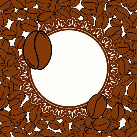 Scattered roasted coffee beans blank frame. Graphic menu template vector illustration.