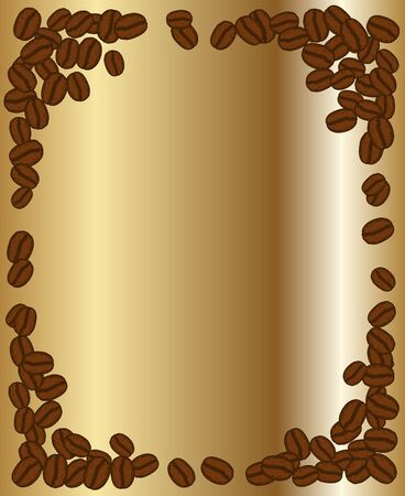 Scattered roasted coffee beans blank golden frame. Graphic menu template gold vector illustration. Çizim