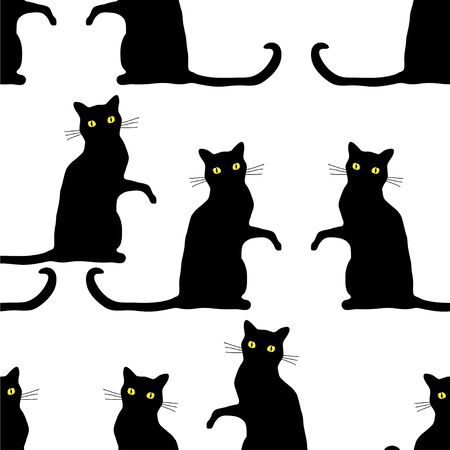 Traditional Halloween seamless pattern with scary black cats isolated over white background.