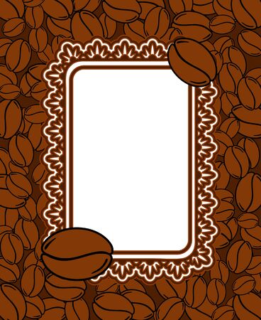 Scattered roasted coffee beans blank vintage frame. Graphic menu vertical template vector illustration.