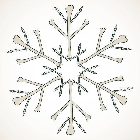 Vector snowflake made of bones in beige isolated over white background.