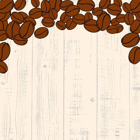Scattered roasted coffee beans over light wooden blank frame. Graphic menu template vector illustration.