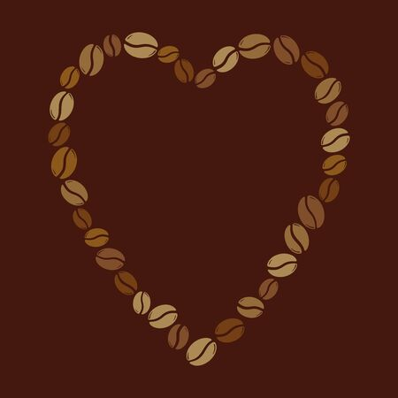 Group of coffee beans forming a heart, love caffeine symbol. Hand drawn graphic vector illustration isolated over dark brown background.