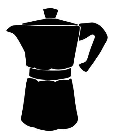 Italian coffee maker or moka pot silhouette, espresso machine, mocha express. Hand drawn vector illustration, black isolated over white.