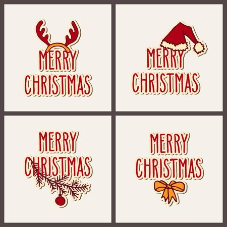 Set of hand drawn doodle greeting cards with Merry Christmas words. Vector illustration isolated over white.