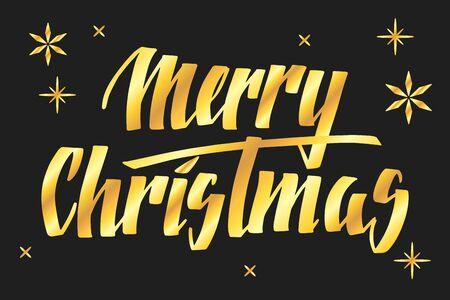 Handwritten Christmas greetings, modern festive calligraphy lettering for postcards. Golden isolated over black. Holiday season design, vector illustration. Иллюстрация