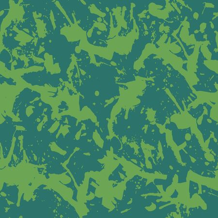 Green paint splashes seamless pattern, abstract multicolor vector background. Colorful design wallpaper.