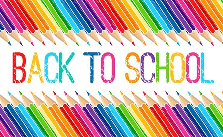 Hand drawn vector doodle Back to School words and multicolor crayon pencils isolated over white background. Education greetings illustration. Ilustración de vector