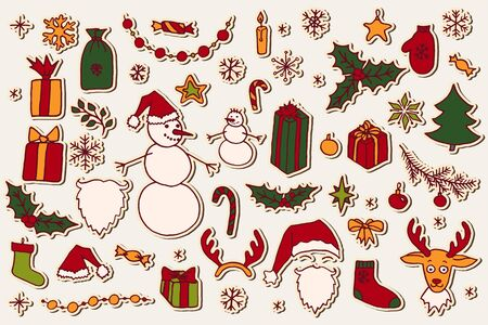 Set of Christmas hand drawn doodle elements. Santa, fir tree, reindeer, snowman, snowflakes, gifts, decorations, holly and stars. Vector illustration isolated over white.