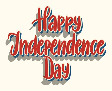 United States Independence Day greeting card design element. American patriotic illustration. Hand drawn lettering in traditional colors isolated over white.