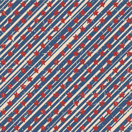 American patriotic stars and stripes textured seamless pattern in vintage colors. Independence day vector background. Ilustração