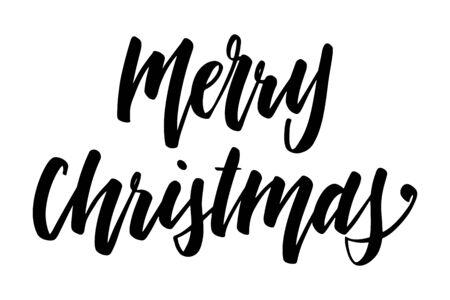 Handwritten Christmas greetings, modern festive calligraphy lettering for postcards. Black isolated over white. Holiday season design, vector illustration. Иллюстрация