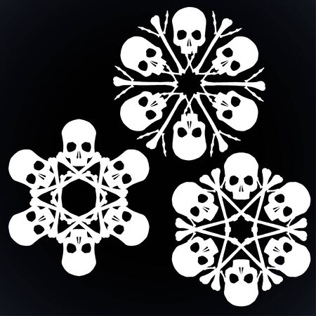 Set of vector silhouette snowflakes made of skulls and bones in white isolated over black background. Vektoros illusztráció