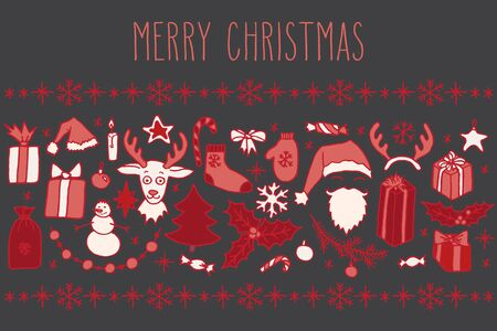 Set of Christmas hand drawn doodle elements in red over grey. Santa, Christmas tree, reindeer and snowman, snowflakes and gifts, decorations, holly.