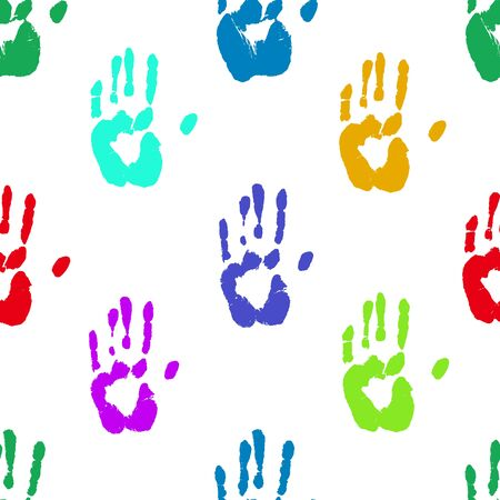 Prints of human hands seamless pattern. Bright colorful palm imprints background over white. Vector grunge backdrop illustration.