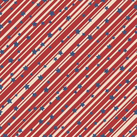 American patriotic stars and stripes seamless pattern in vintage colors. Independence day vector background.