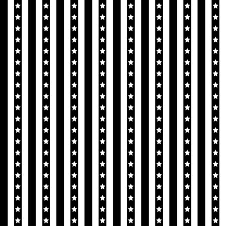 American patriotic stars and stripes seamless pattern in black and white. Independence day vector background. Ilustração