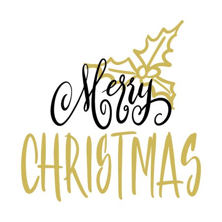 Handwritten Christmas greetings, modern festive calligraphy lettering for postcards. Black and golden isolated over white. Holiday season design, vector illustration. Иллюстрация
