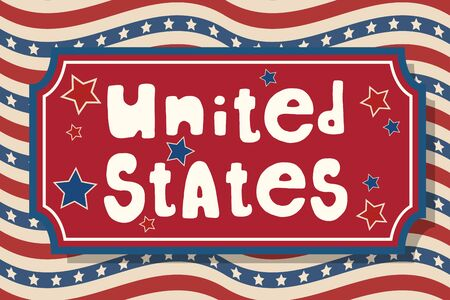 United States. USA Independence Day greeting card. American patriotic design. Hand drawn lettering over traditional stars and stripes background.