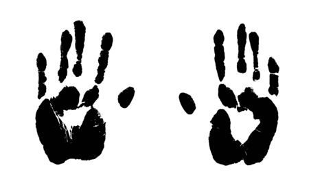 Print of human hands. Palms imprint in black isolated over white. Vector grunge illustration. 向量圖像