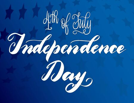 United States Independence Day greeting card. American patriotic design. Scattered stars blue backdrop and hand drawn lettering in white.