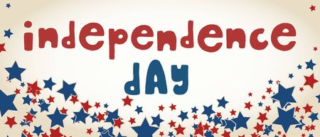 United States of America  Independence Day greeting card. American patriotic design. Scattered red and blue stars and hand drawn lettering over white.