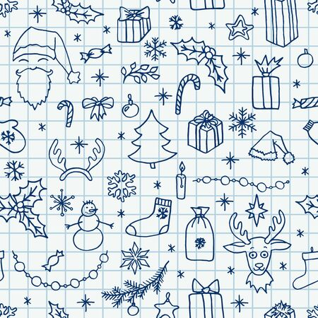 Christmas hand drawn doodle seamless pattern over squared notebook sheet. Santa, tree, reindeer, snowman, snowflakes, gifts, decorations, holly, candle, stars. Vector illustration holidays background.