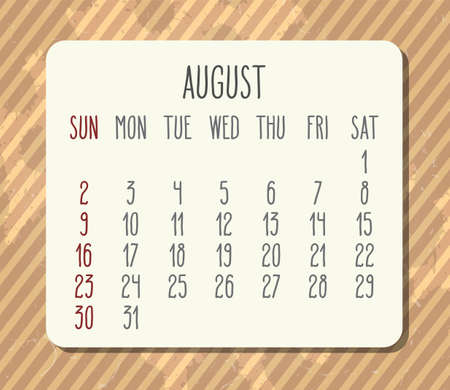 August year 2020 vector monthly calendar. Week starting from Sunday. Vintage brown stripes distressed design.