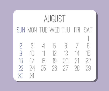 August year 2020 vector monthly plain minimalist light purple calendar. Week starting from Sunday.