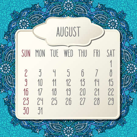 August year 2020 vector monthly calendar over doodle ornate hand drawn blue floral background, week starting from Sunday. Beige beveled frames design.