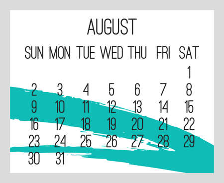 August year 2020 vector monthly modern calendar. Contemporary hand drawn teal green brush stroke design over white background. Week starting from Sunday. Иллюстрация