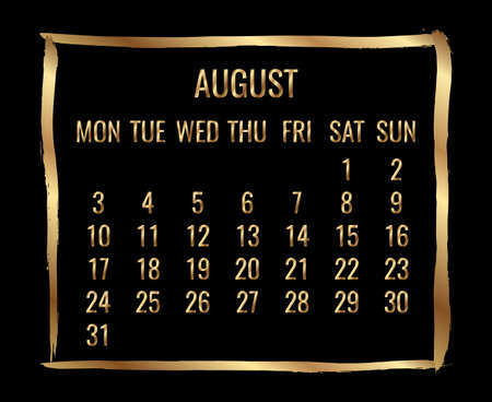 August year 2020 vector monthly modern calendar. Contemporary golden brush stroke frame design over black background. Week starting from Monday.