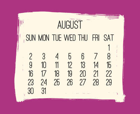 August year 2020 vector monthly modern calendar. Contemporary hand drawn pink brush stroke frame design. Week starting from Sunday.